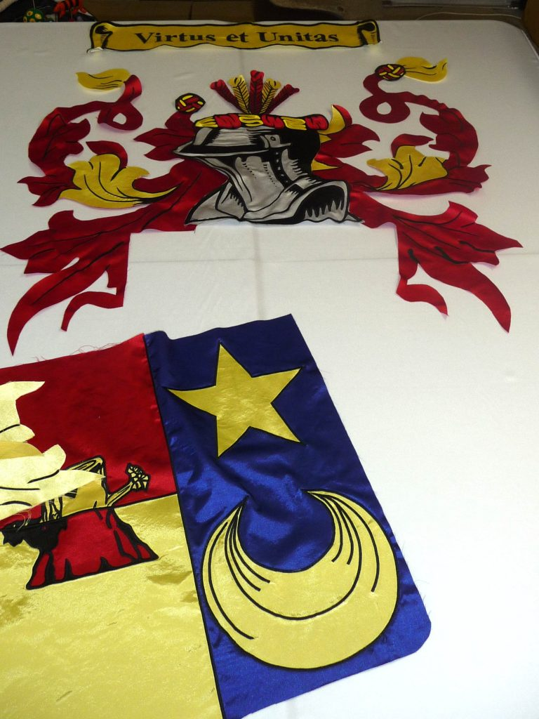 Banners are constructed by hand